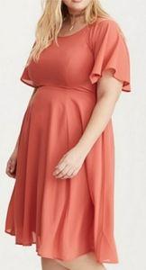 Torrid Coral Chiffon Midi Dress w/ Lace Up Back